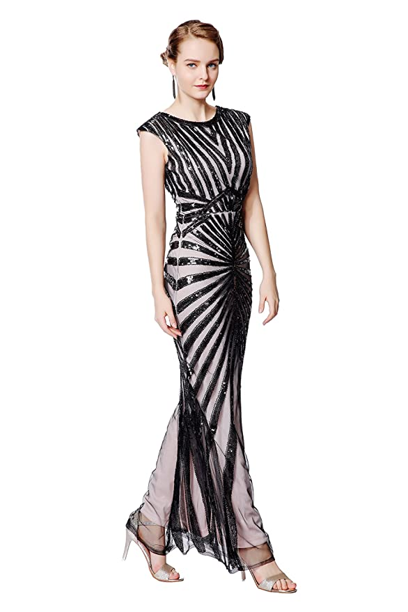 Best 1920s Prom Dresses – Great Gatsby Style Gowns Metme Formal Evening Dress 1920s Sequin Mermaid Formal Long Flapper Gown Party  AT vintagedancer.com