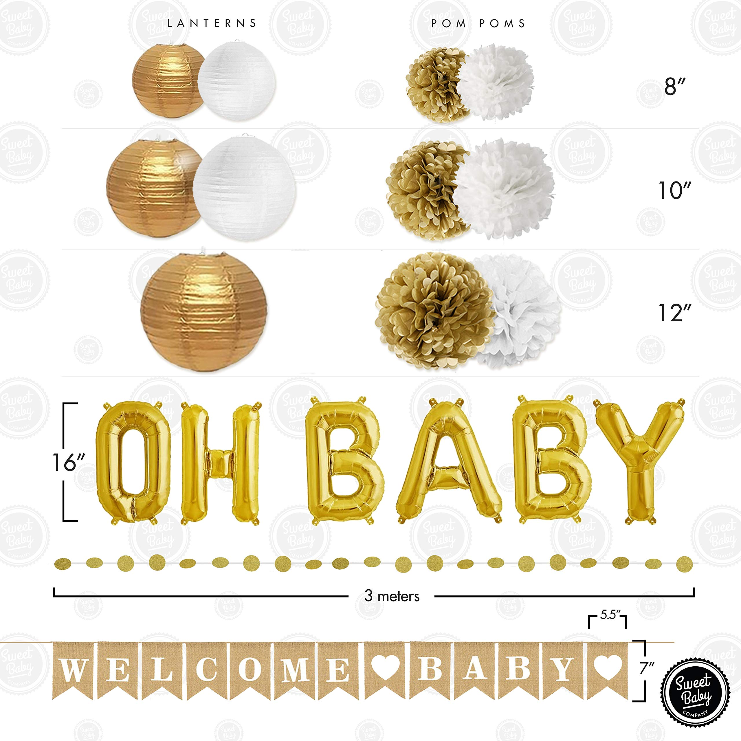 Sweet Baby Co. Baby Shower Decorations Neutral For Boy or Girl With Welcome Baby Banner, Oh Baby Foil Balloon, Paper Lanterns, Tissue Paper Pom Poms, Circle Garland | Rustic Gold and White Gender Neutral Baby Shower Decorations Set by Sweet Baby Company (Image #4)
