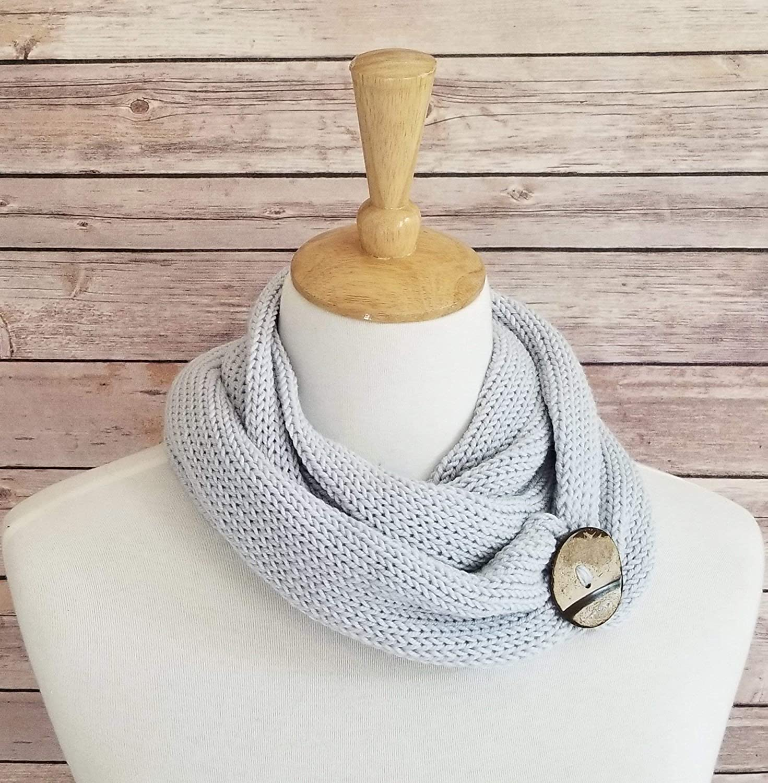 Amazon.com: Ice Blue Handmade Knit Merino Wool Bamboo Infinity Cowl ...