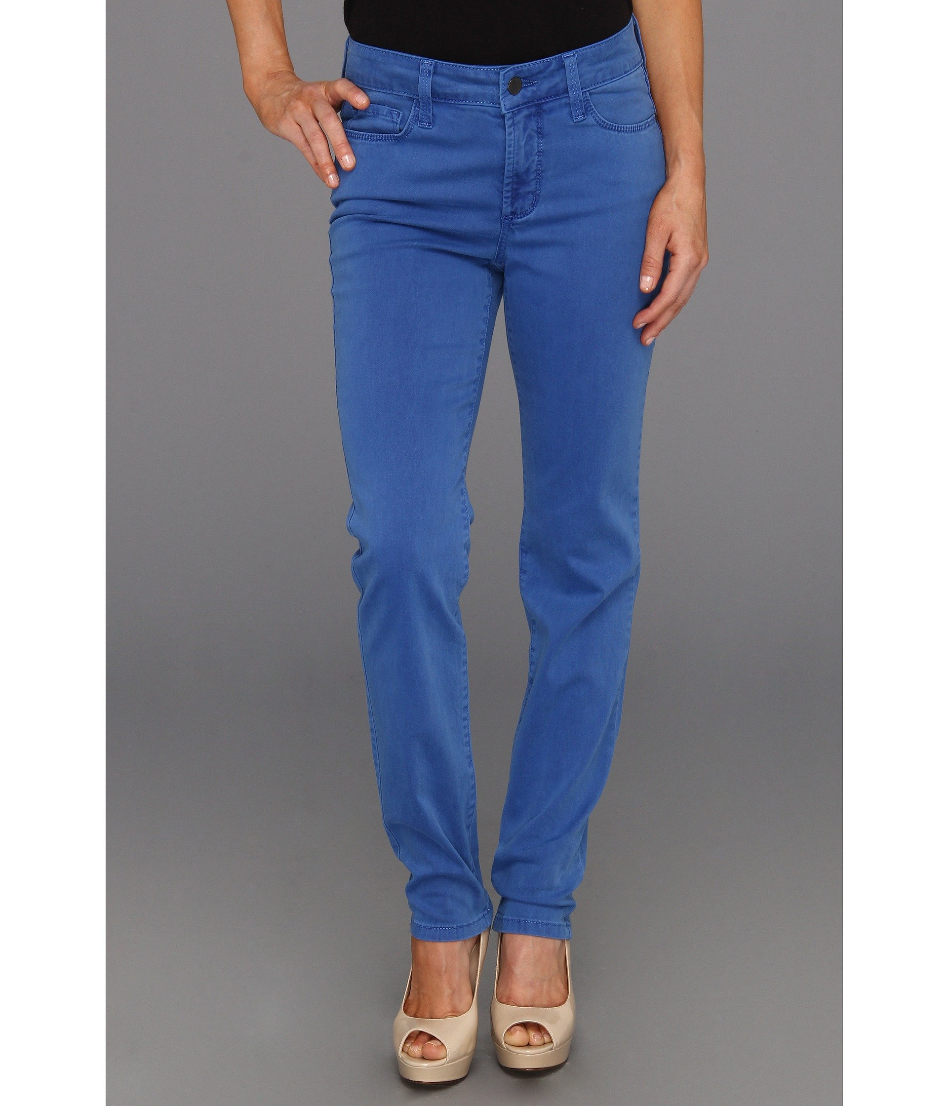 NYDJ Sheri Skinny Washed Fine Line Twill Princess Blue Jean Womens 10P