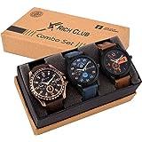Rich Club Men's Analogue Quartz Movement Watch(Black Blue Dial, REL-OCT-DEN) - Pack of 3
