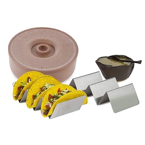 Amazon.com: Newbury Home Taco Soporte y Tortilla Calentador ...