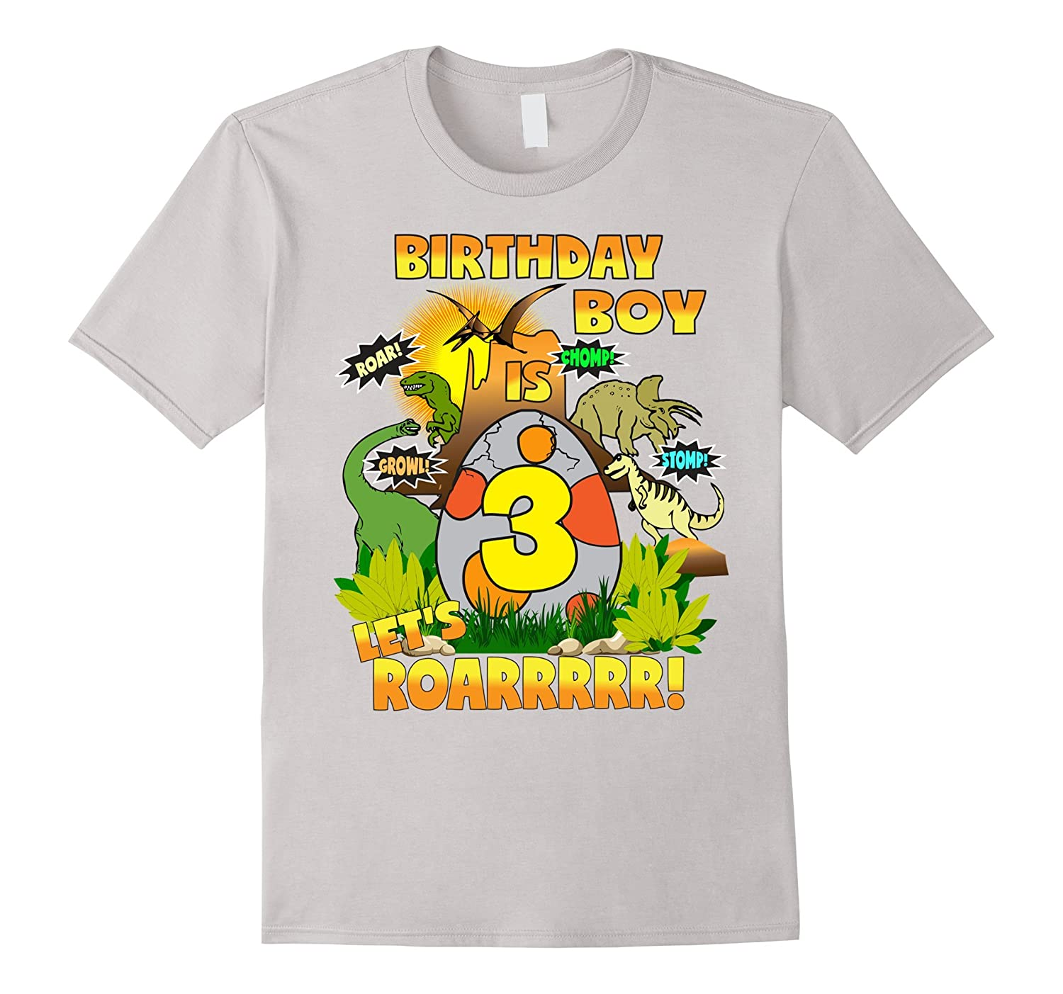 Dinosaur Birthday Shirt Age 3 Party Theme Outfit Boys Vaci