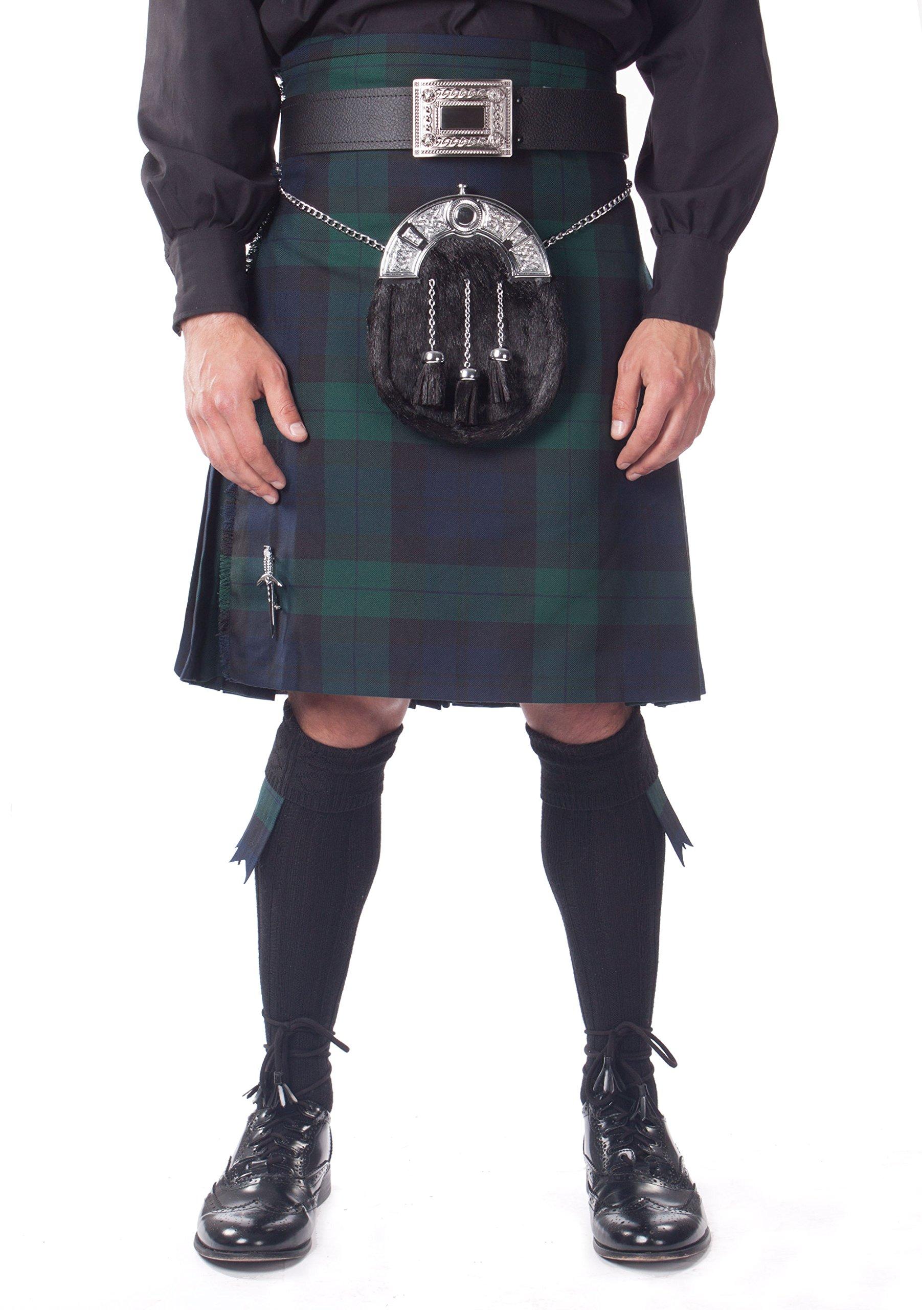 Kilt Society Mens 7 Piece Full Dress Kilt Outfit- Black Watch Tartan with Black Hose 30'' to 34''