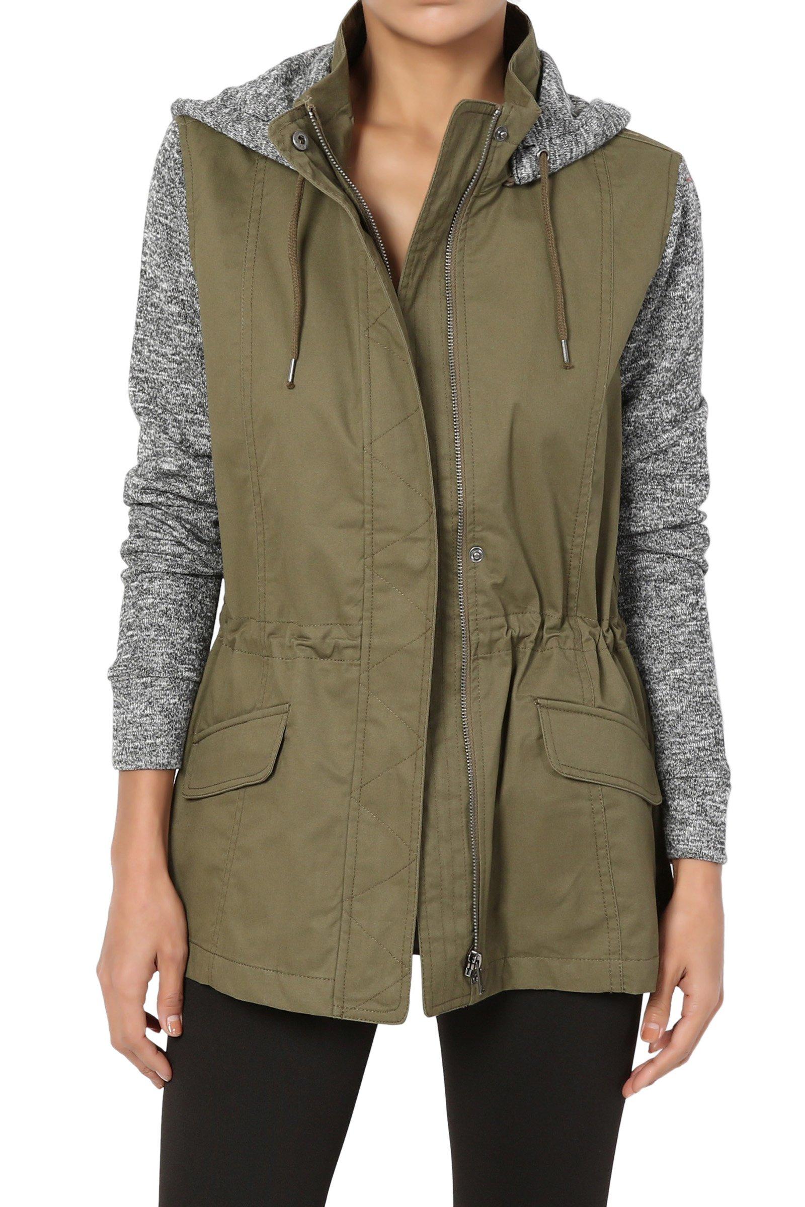 664ab0da129 TheMogan Junior's Sweater Knit Sleeve & Hooded Utility Anorak Jacket Olive S