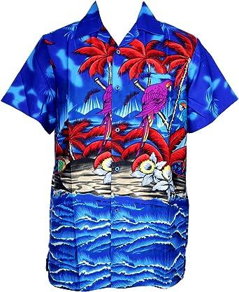 Camisa hawaiana para hombre, diseño de loros en el centro, con loro, para la playa, fiestas, verano y vacaciones