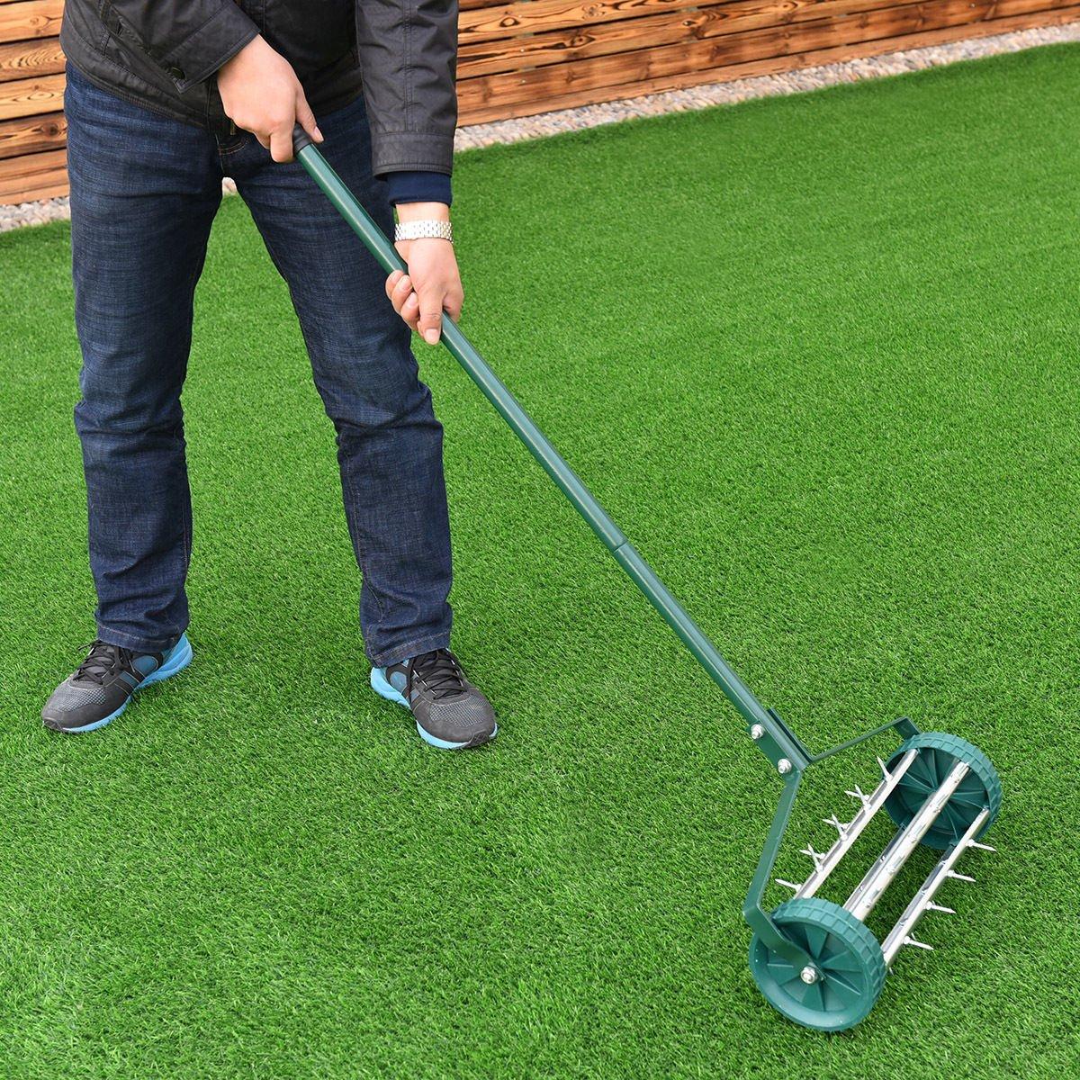 Moon Daughter Heavy Duty Easy Rolling Garden Lawn Aerator Roller Home Grass Steel Handle Green New