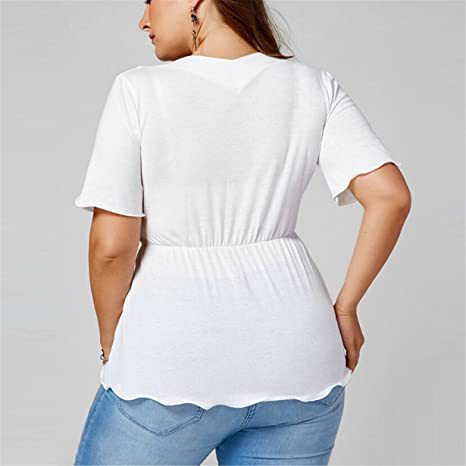 Amazon.com: Londony HOT SALE Plus Size White Tops, Womens Flare Sleeve V Neck Tie Waist Ruched Casual Shirt Sexy Blouse (White❤ , 2XL): Toys & Games