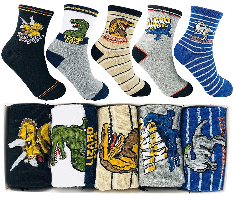 Memoryee Ragazzi Fashion Cartoon Dinosaur Pattern Socks 4-16Year Old Best Kids Kids Cotton Crew Sock Set da 10 pezzi