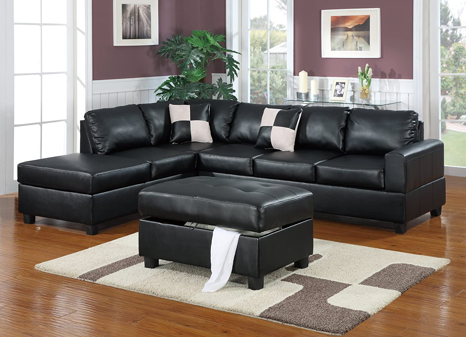 Amazoncom Bobkona Hampshire Collection 3Piece Sectional Sofa