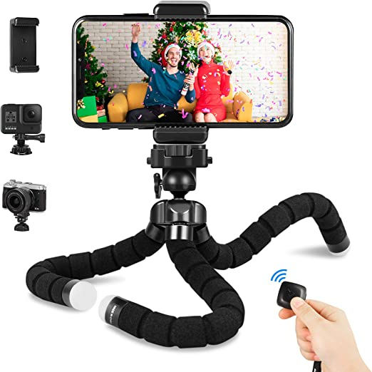 Amazon Com Cell Phone Tripod For Iphone Fotopro Flexible Tripod Iphone Tripod Stand Mount With Bluetooth Remote And Phone Clip 360 Adjustable Mini Tripod Stand For Camera Gopro Smartphone Camera Photo