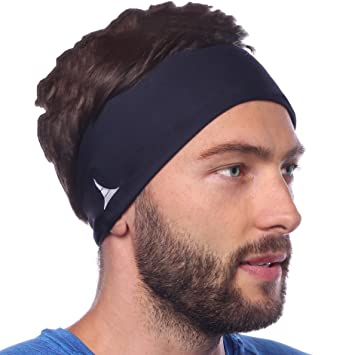 9b48542ec6a6 Sporty Touch 4 Wide Men Headband Sweatband Best for Sports Running Workout  Yoga Elastic Hair Band - Ultimate Performance Navy Blue  Amazon.in  Sports