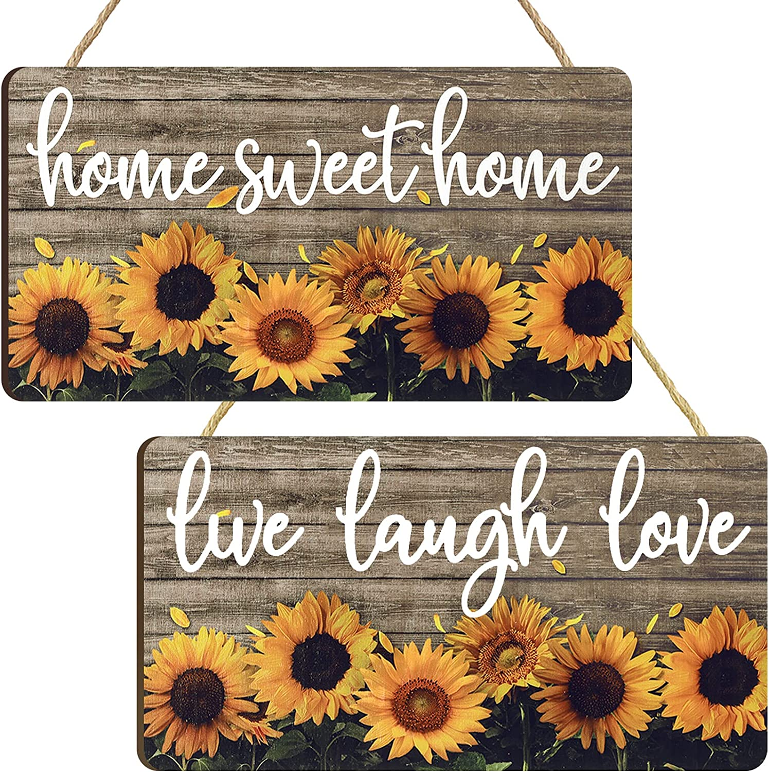 Jetec 2 Pieces Sunflowers Front Door Decor Home Sweet Home Rustic Print Sign Live Laugh Love Wall Art Sign Porch Farmhouse Entryway Home Decorations for Bedroom Living Room Decor, 6 x 11 Inches