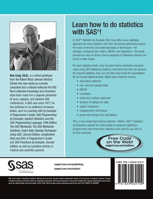 SAS Statistics by Example: Ron Cody: 9781635269109: Amazon