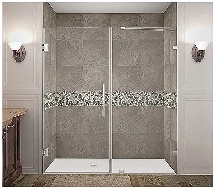Frameless Hinged Shower Door And Panel.Aston Nautis74 X 72 Completely Frameless Hinged Shower Door Brushed Stainless Steel