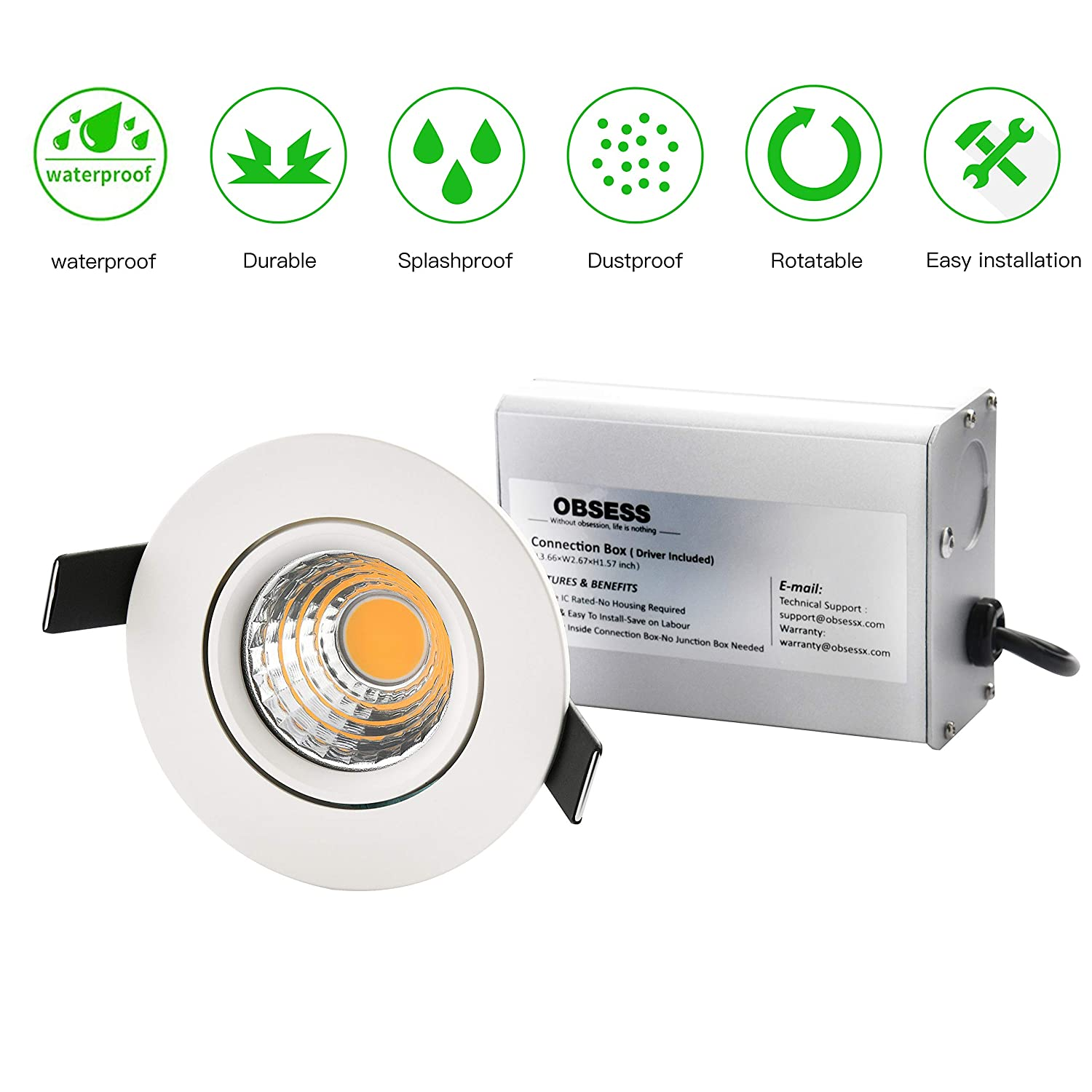 OBSESS 3 Inch IP54 Waterproof Shower Light With 8W COB LED Downlight, Damp  Location Use, Shower Room Light, Shower Room Downlights Ceiling Light,  White, ...