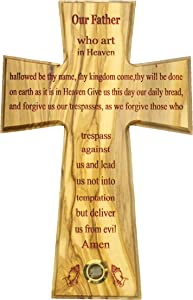 The Lord's Prayer Wall Cross Olive wood Handmade in Bethlehem and Jerusalem the Holy Land, One of a Kind very Special with olive leaves laser prints for Home, Office and churches