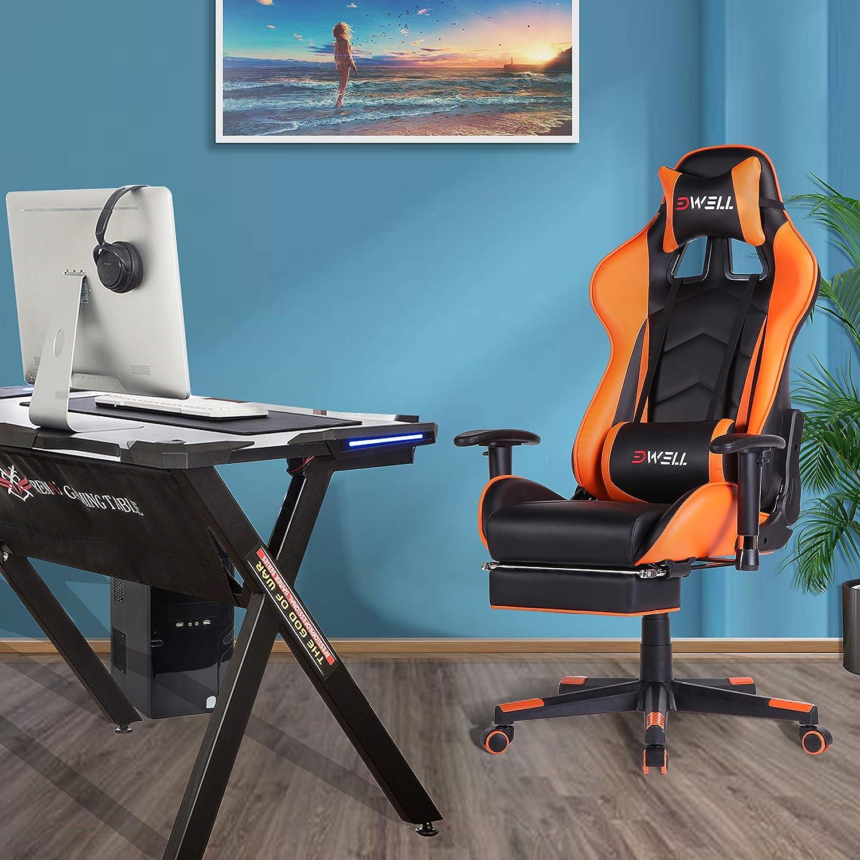 Orange EDWELL Sedia Gaming,Sedia da Ufficio e da Gaming,Ergonomica Sedia per Computer e Videogiochi con Poggiapiedi,Design Racing,Poggiatesta Regolabile e Supporto Lombare per Casa e Ufficio