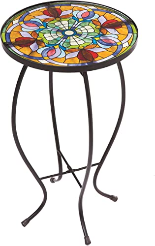 Evergreen Garden Tiffany-Inspired Floral Side Table