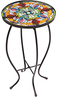 Amazoncom Outdoor Decor Sunflowers Round Glass Side Table Kitchen
