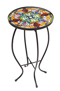 Evergreen Garden Tiffany-Inspired Floral Side Table for Patio or Garden