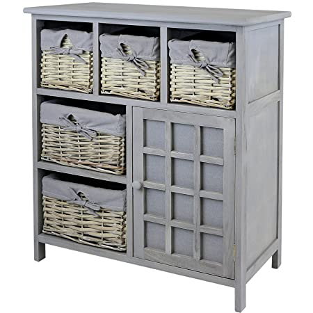 Hartleys Grey Farmhouse Storage Unit Wicker Baskets