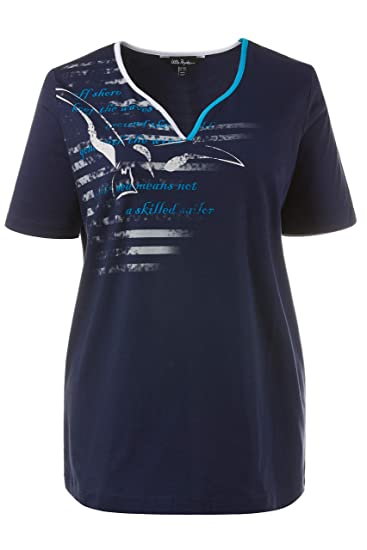 371daff9d25 Ulla Popken Femme Grandes Tailles T-Shirt Top Femmes Motif mouettes Manches  Courtes Bleu foncé
