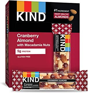 product image for KIND Bars, Cranberry Almond + Antioxidants with Macadamia Nuts, Gluten Free, Low Sugar, 1.41 Ounce (12 Count)
