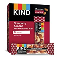 KIND Bars, Cranberry Almond with Macadamia Nuts , Gluten Free, Low Sugar, 1.4oz,...