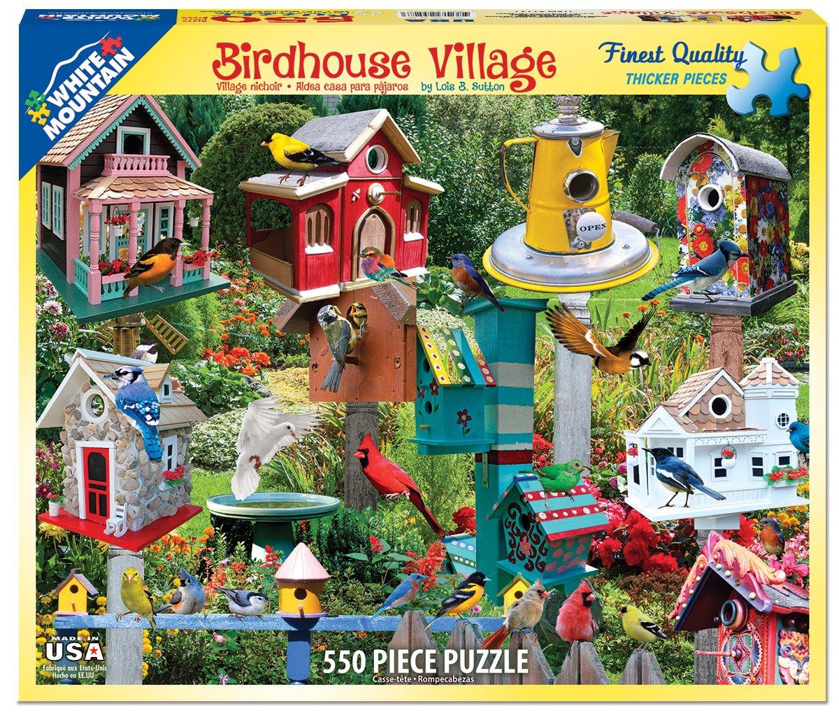 550 Piece Jigsaw Puzzle Inc 1137 White Mountain Puzzles Birdhouse Village