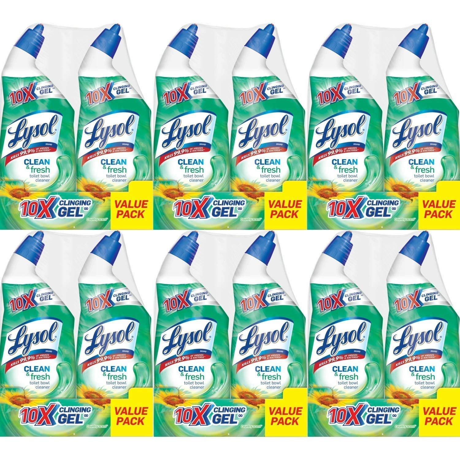 Lysol Power & Fresh Cling Toilet Bowl Cleaner Value Pack, Country Scent, 288 Ounce, Count of 12