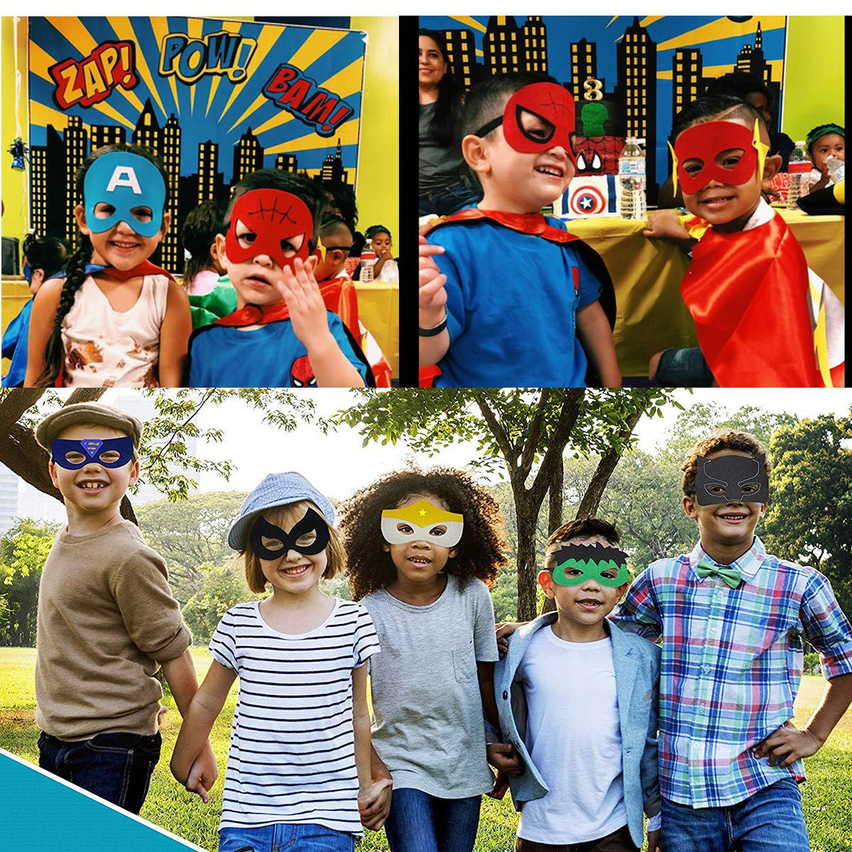 Kids Party Cosplay Masks Felt Party Masks 33 Pieces Multiple Sizes ADJUSTABLE Elastic Band for Birthday Halloween Party Supplies to Decoration