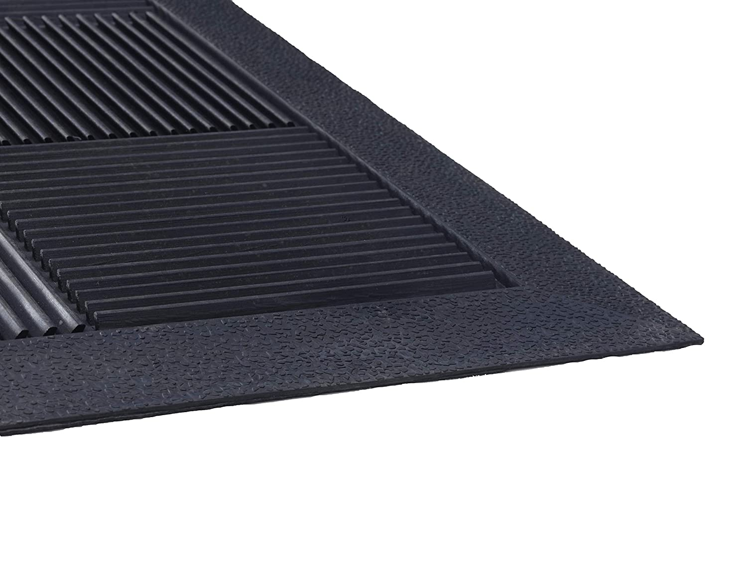 Parquet Wiper Scraper Outdoor Floor Mat,Rubber Removes Dirt and Handles Multi-direction Traffic NA PARQUET2X3 Black 2x3 ft