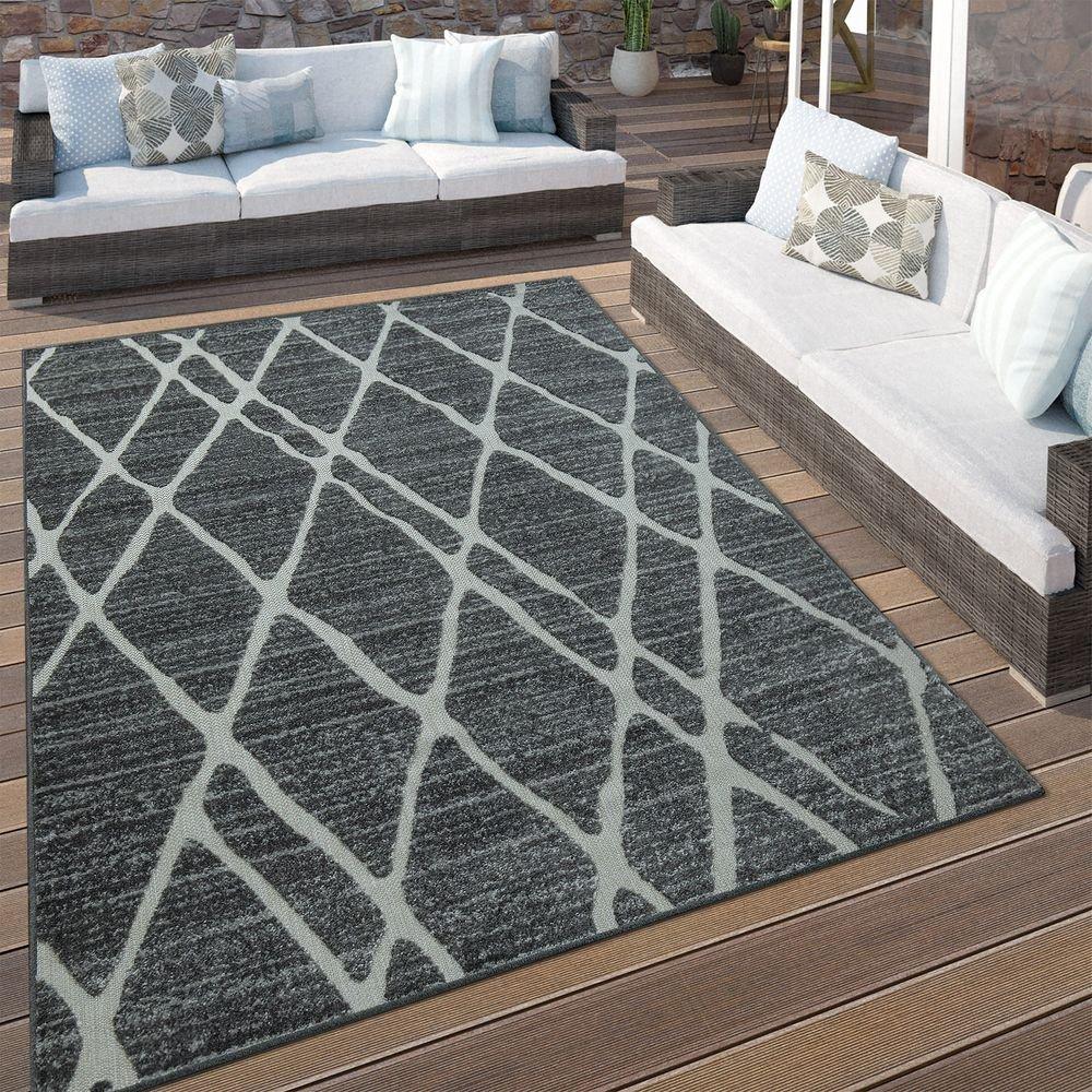 Paco Home In- & Outdoor Terrassen Teppich Modernes Rauten Rauten Rauten Design Grau, Grösse 200x290 cm 3d4629