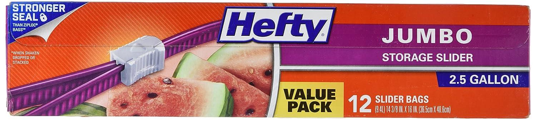 Hefty Slider Jumbo Storage Bags (2.5 Gallon, 12 Count)