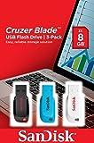 Sandisk Cruzer Blade Pen Drive da 8 GB, 3 Pezzi, Multicolore
