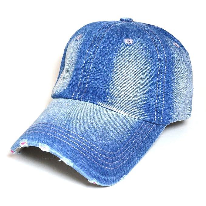 f9251f8d8e8 Distressed Denim Jean Vintage Polo Style 100% Cotton Adjustable Baseball  Cap Hat (DARK