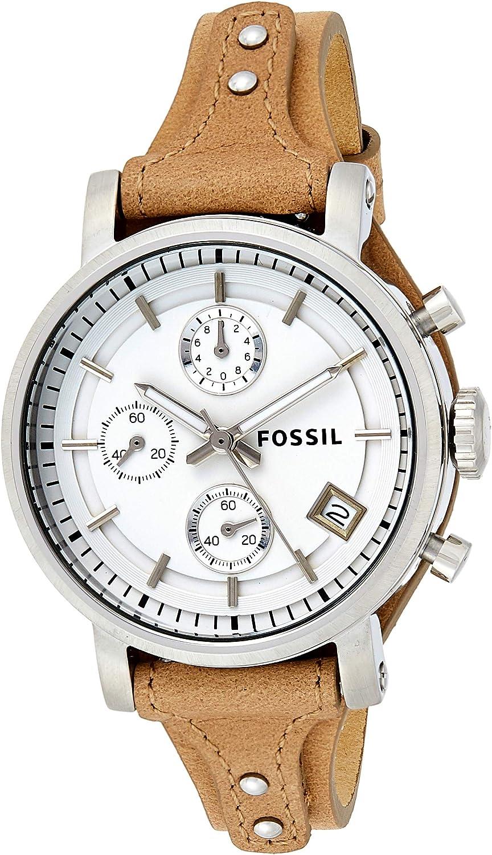 Fossil Reloj Cronógrafo para Mujer de Cuarzo con Correa en Piel