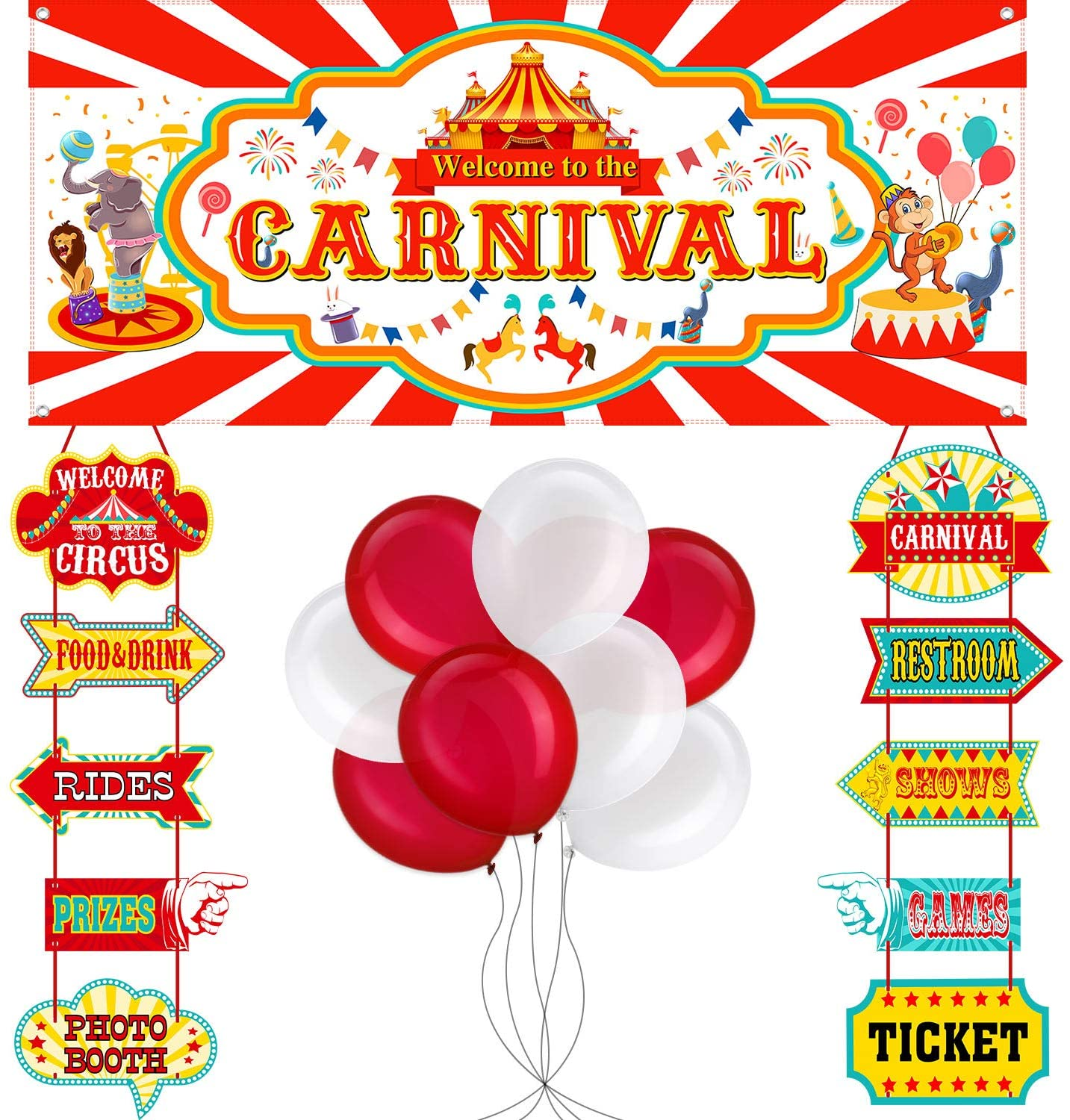 46 Pieces Circus Carnival Party Decoration Set Circus Theme Carnival Banner Carnival Cutouts and Circus Color Balloons Circus Carnival Party Suppliers and Favors