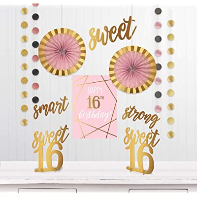 """""""Sweet Sixteen"""" Birthday Metallic Gold and Pink Room Decorating Kit, 12 Pc.: Toys & Games"""