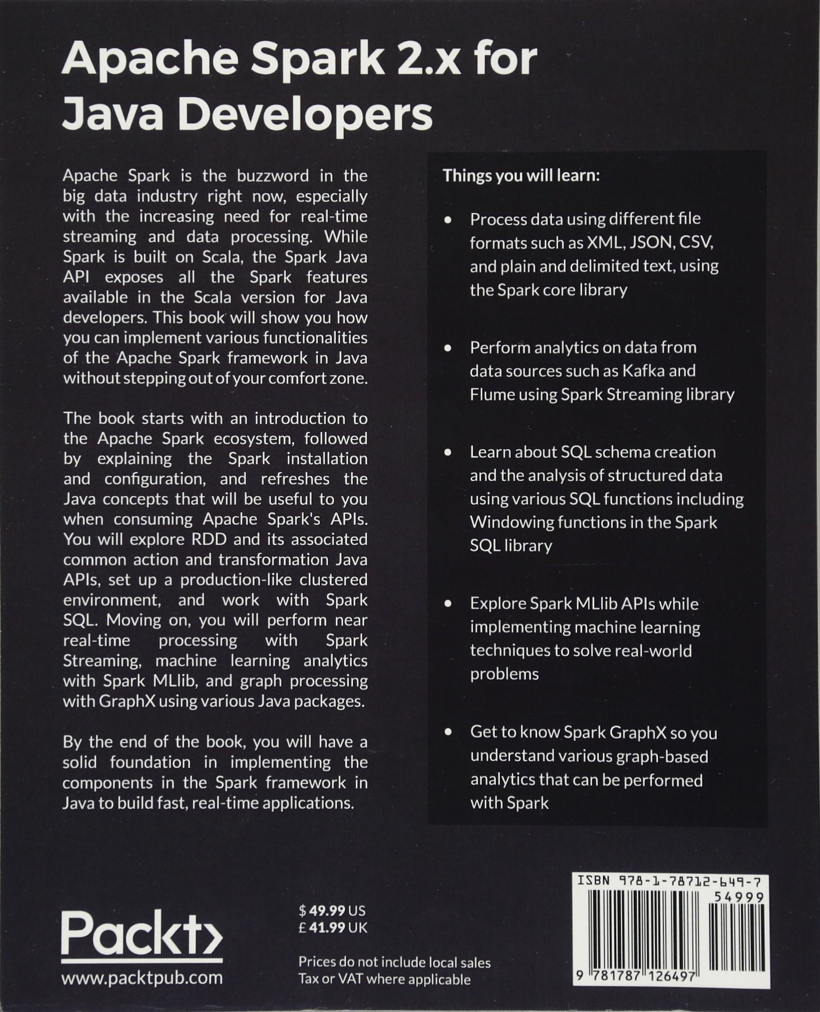 Buy Apache Spark 2 x for Java Developers Book Online at Low