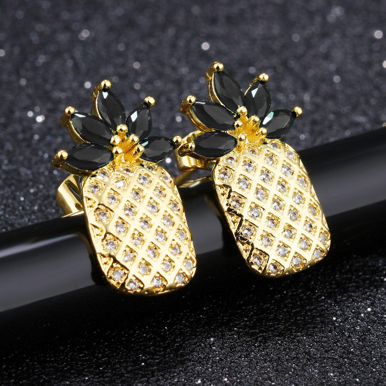 Lazycat lovely zircon pineapple earrings dainty gloden pineapple earrings jewelry