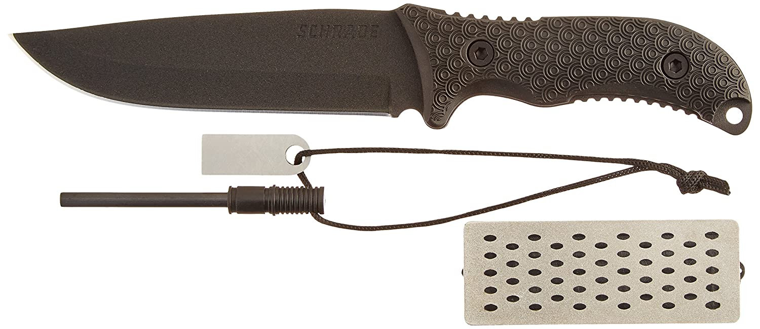 Schrade SCHF38 Frontier 11.2in High Carbon Steel Full Tang Fixed Blade Knife with 5.8in Drop Point and TPE Handle for Outdoor Survival, Camping and Bushcraft