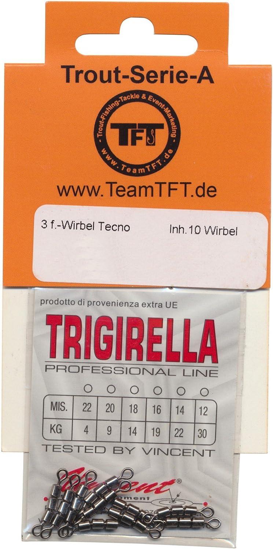 Forellenwirbel Dreifachwirbel zum Angeln auf Forellen 10 Angelwirbel zum Forellenangeln Trout Swivel TFT 3-Fach Wirbel Tecno