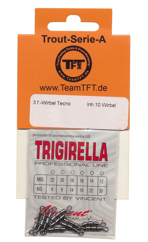 TFT 3-Fach Wirbel Tecno Forellenwirbel 10 Angelwirbel zum Forellenangeln Trout Swivel Dreifachwirbel zum Angeln auf Forellen