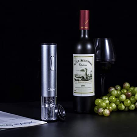 Electric Wine Opener Automatic Cordless One Touch Wine Opener Battery-Operated Corkscrew Foil Cutter and Batteries Included Silver