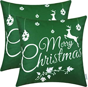 CaliTime Pack of 2 Soft Canvas Throw Pillow Covers Cases for Couch Sofa Home Decoration Merry Christmas White Reindeer 18 X 18 Inches Christmas Green