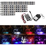 AMBOTHER 8Pcs Motorcycle LED Light Kit Strips Multi-Color Accent Glow Neon Lights Lamp Flexible with Remote Controller for Harley Davidson Honda Kawasaki Suzuki Ducati Polaris KTM BMW ( Pack of 8)