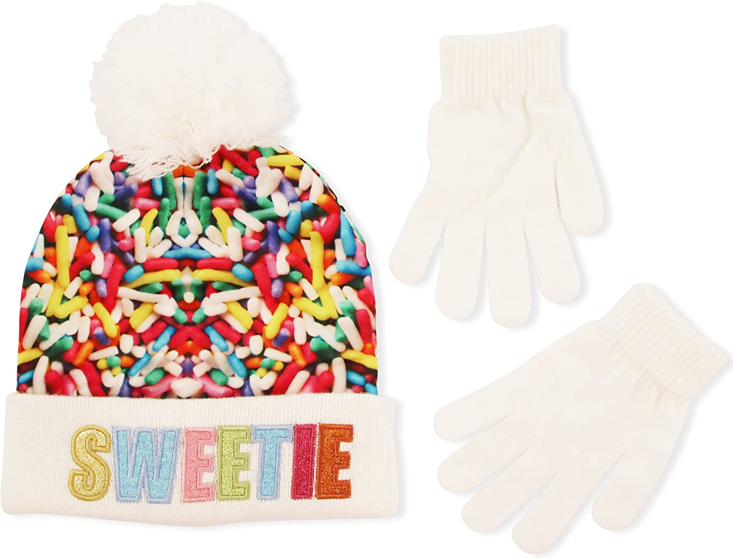 ABG Accessories Girls Sprinkles Sweetie Pom Beanie with Magic Glove Set