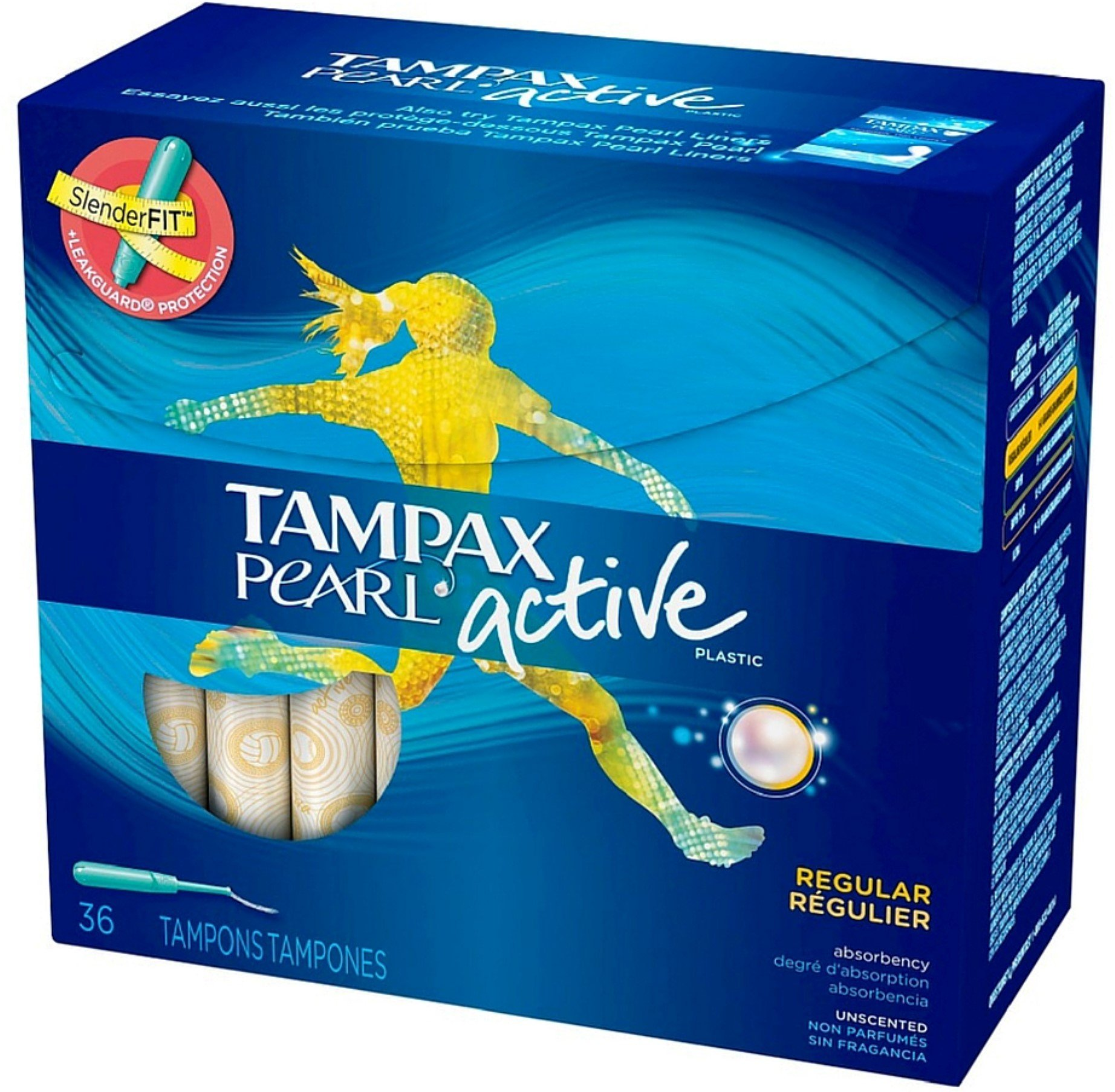 Tampax Pearl Active Plastic Unscented Tampons, Regular Absorbency 36 ea (Pack of 4) by Tampax